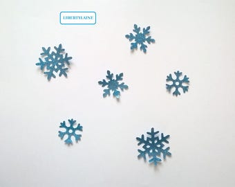 Applied fusing turquoise paillet set of 6 snowflakes in flex
