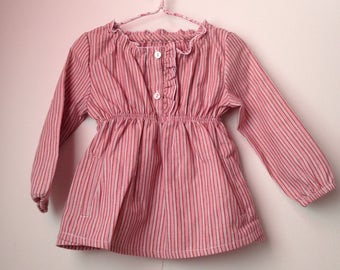 Girls outfits, Pink striped cotton blouse, Toddler blouse, Girls blouse, For all seasons clothes, Little clothing