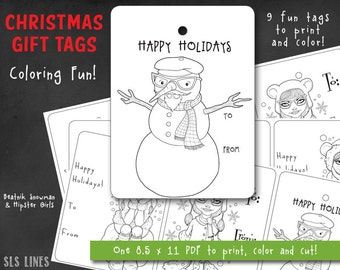 Christmas Coloring PDF with Beatnik Snowman and Hipster Girls, printable PDF Xmas Gift Tags adult coloring fun, DIY coloring tags