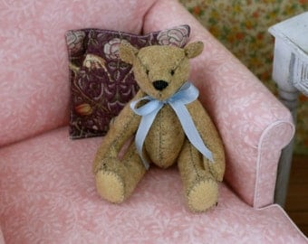 Bjd Size Teddy Bears Made From Wool Felt in Light Brown w/blue ribbon