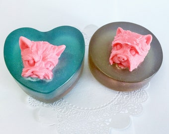 puppy Soap - animal soap - Heart Soap - Scented soaps - decorative soap - Glycerin Soap - Wedding Favor Soap - soap gift