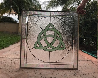 """The """"Limerick""""  Green Celtic Knot  Clear Textured Stained Glass Windows  (we do custom work, email me for quote)"""