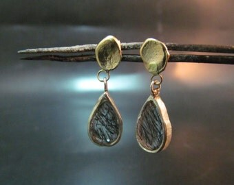 14K yellow gold & sterling silver earrings with Rutilated Quartz. free shipping