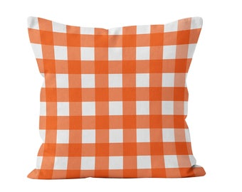 Plaid Pillow Cover, orange pillow cover, orange farmhouse pillow, large gingham decor, men decor, summer picnic, rustic pillow cover decor