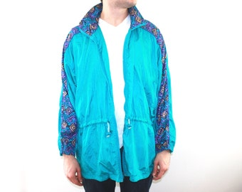 90's Vintage Blue Zip Up Windbreaker with Funky Purple Print