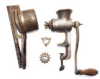 Vintage Kitchen Tools: Savory Potato Masher Strainer Press and Universal #1 Meat Grinder