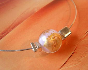 ROSE LAMPWORK GLASBEAD necklace gold and Silberfoil Greek ceramic beads necklace