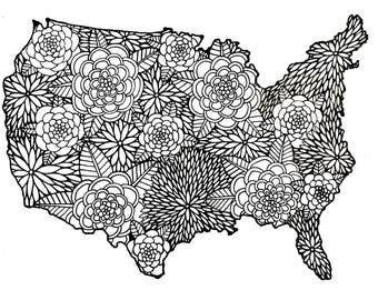 United States, Single Page Print: Travelers Coloring Book