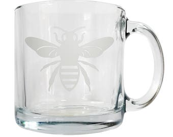 Etched Glass Honeybee Coffee Mug - FREE SHIPPING