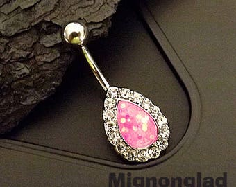 """14g 3/8"""" (10mm) / Pink Opal Glitter Centered Crystal Paved Tear Drop 316L Surgical Steel Belly Button Rings"""