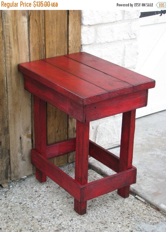 Sale medium red end table side table by dougandcristydesigns for Red side table