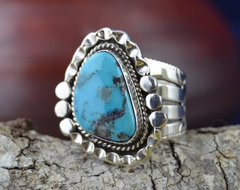 Large Navajo handmade sterling silver & freeform morenci turquoise ring 10.5