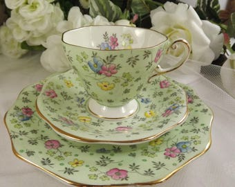 Foley/ Shelley Florals Teacup, Saucer, Plate