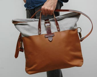 Weekend bag, waxed canvas with leather handles and closures,light grey/tan leather color