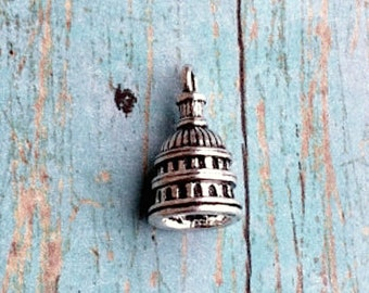 4 US Capitol charms 3D antique silver tone - USA charms, Washington DC charms, patriotic charms, United States capitol pendant, II12