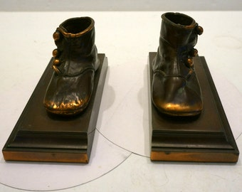 Vintage Pair of Victorian  Bronze Baby Shoe Bookends