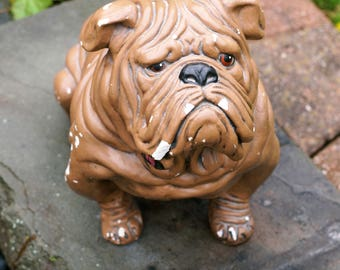Adorable Rare Vintage Detailed Plaster Bulldog Statue
