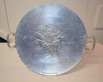 """EXTRA Large - Everlast Metal Handled 17.25"""" Round Tray - Rose Floral Pattern - Hand Forged Aluminum Tray - Mid-century 1950s"""