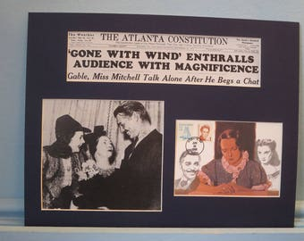"Clark Gable & Vivien Leigh in ""Gone With the Wind""  and the First Day Cover of the stamp issued to honor its author Margaret Mitchell"