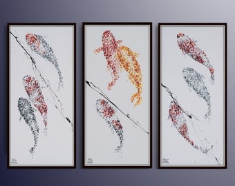 AMAZING SET !! Impressive Koi fish painting set. Special composition, relaxing colors. Can be custome made in size. By Koby Feldmos