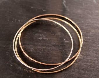 Closed Bangle Trio  (Rose Gold Sterling Silver Gold Bracelet Bangles Bridesmaid Wedding Gift for her Under 50)