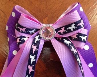 Pony Girl Horse Show Hair Bows/Purple Tiny Ponies PINK SPARKLE GEM