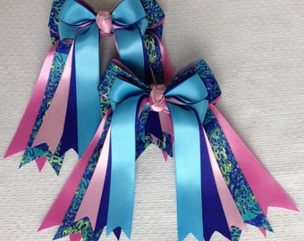 Equestrian hair bows/Lilly Inspired Equestrian clothing/Blue Green Pink