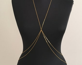 Gold Body Chain, Necklace, Gold Plated Chain, (noncorroding), Dainty Necklace