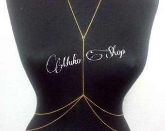 Gold Body Chain, Gold Body Jewelry, Delicate Body Chain, Dainty Body Necklace, BDC1047-02