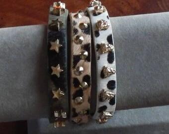 Trio of Unique Studded Cuff Bracelets!