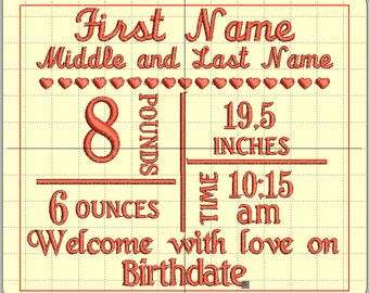 Birth Block – Machine Embroidery Design..embroider your baby's birth information to an item for a keep sake.
