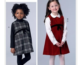 Vogue Sewing Pattern V9233 Children's/Girls' Raised-Waist Jumpers and Peter Pan Collar Blouse