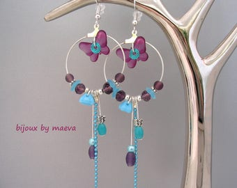 Costume jewelry earrings purple and turquoise butterflies