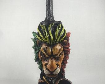 Tobacco Hand Made Pipe, Rasta Scar Lion Design