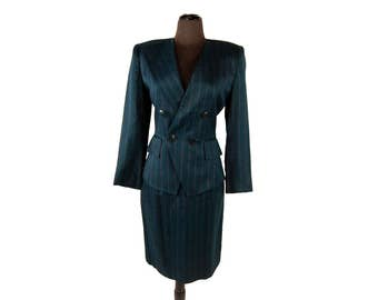 Vintage 1980's Pappagallo Dark Teal & Pink Double-Breasted Pinstripe Women's Suit / Jacket and Skirt (Size 6)