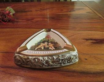 Exquisite Vintage Capodimonte Italy Ashtray Raised Cherub Design Numbered 350 of 1535
