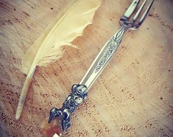 Crystalised Dessert Fork, SilverWare, Heirloom, Magical, Gothic, Medieval, Amulet, Citrine, Cutlery, Wedding, Antique, Witchcraft, Spell.