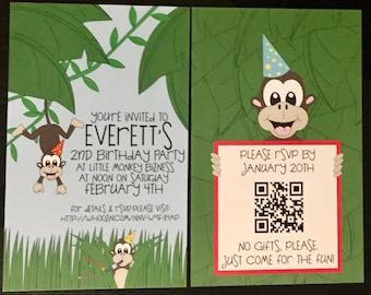 Monkey Around Invitations--5x7 Digital