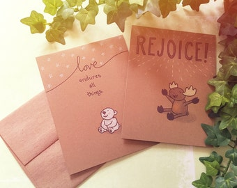 Rustic Christmas Cards | Set of 6 (with cute moose and polar bear illustrations)