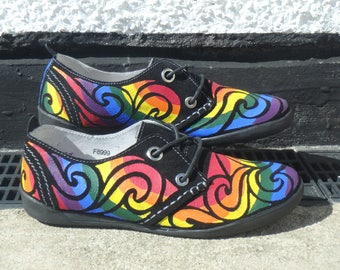 Rainbow Shoes. Real Suede Shoes. Uk Size 6, Euro size 39, Us Size 8.5. Hand painted.
