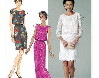 Butterick Pattern B6414 Misses' Overlay-Bodice Dresses