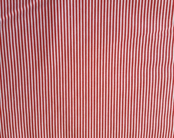 Red Stripe Cotton Fabric Sold by the Yard
