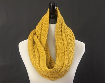 Cable Knit Infinity Scarf, Knit Cowl Scarf, Eternity Scarf, Hand Knit Infinity Scarf, Winter Circle Scarf, Mustard Yellow Winter Accessories
