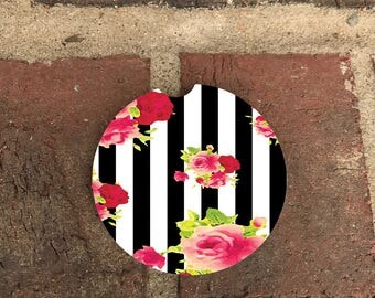 Custom Black and White Stripe/Flower Car Coaster/ Absorbent Stone car coasters/recliner coasters (set of 2)