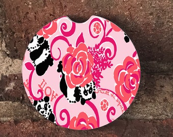 Custom Lilly Panda and Roses Sandstone Auto Cup Holder Coasters (set of2)  Personalized Custom Car Coasters (set of2)Gift Ideas