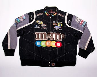Vintage Nascar M&Ms Candy Bar Print 90s Racing Car Jacket