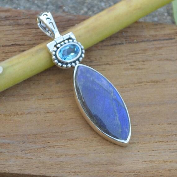 Natural Blue Fire Labradorite, Blue Topaz Gemstone Pendant, Bezel Fine Silver, Semi Precious Gemstone Jewelry, Blue Topaz Necklace Jewelry
