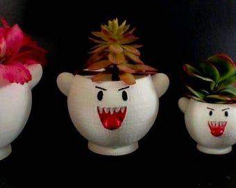 Boo Ghost Planter, Indoor and Outdoor Succulent Planters, Super Mario Bros