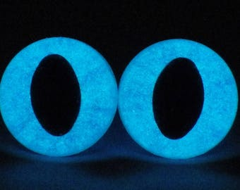 18mm Glow In The Dark Cat Eyes, Metallic Blue Safety Eyes With Blue Glow, 1 Pair Of Glow In The Dark Safety Eyes