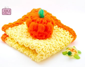 Crochet Dish Cloth and Pumpkin Scrubby Gift Set, Yellow, Orange, Pot Scrubby, Cleaning Cloth, Nail Scrubby, Gifts for her, For Home, Spa